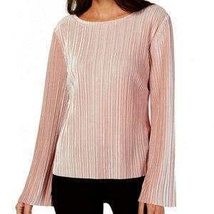INC Pleated Velvet Top Bell Sleeve Pink Shimmer